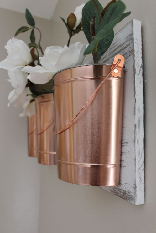 Copper Wall Decor home project // copper buckets for your wall - within the grove