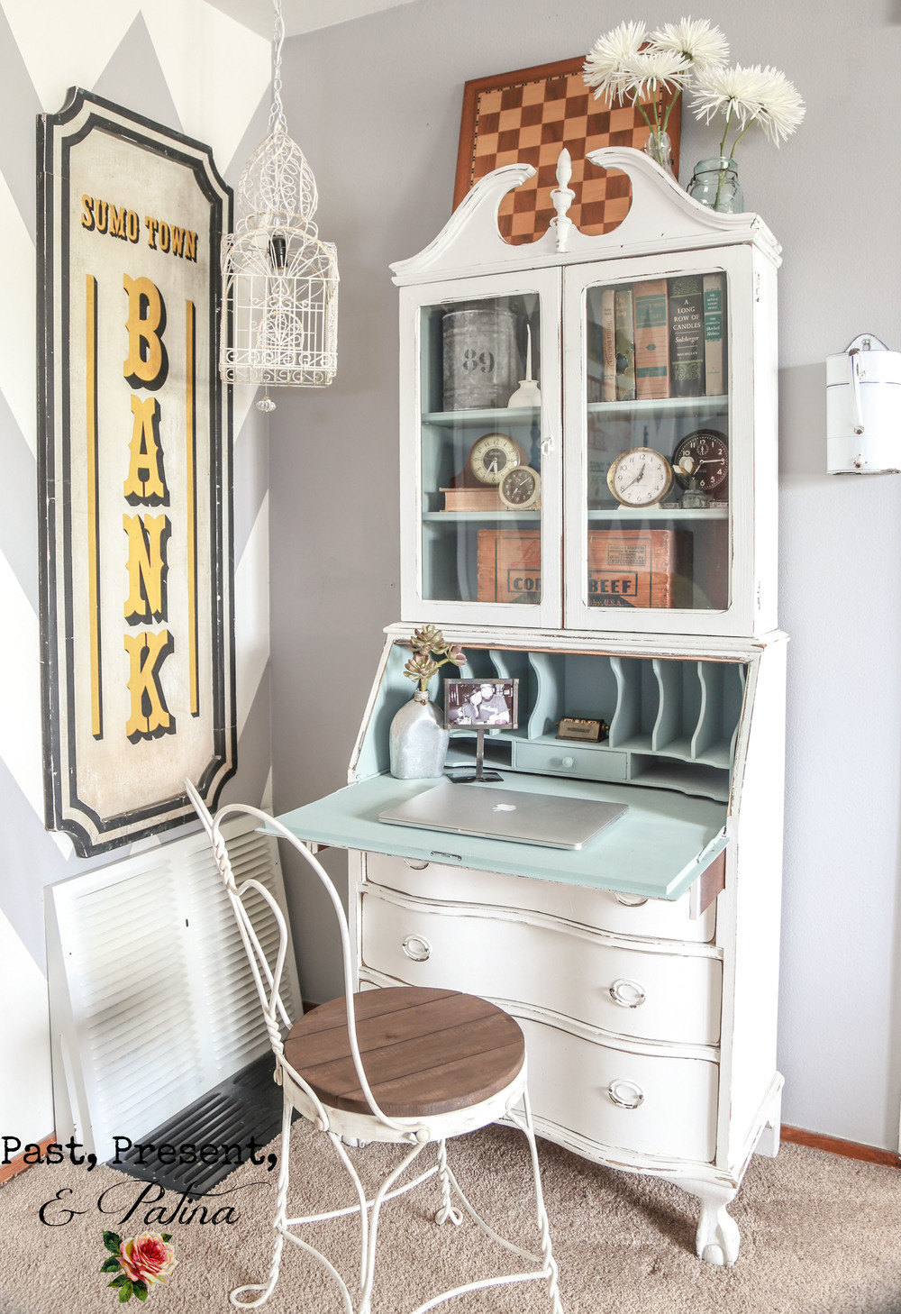 Vintage Secretary Desk Makeover by Past, Present, and Patina - Vintage Secretary Desk Makeover Ideas - Within The Grove