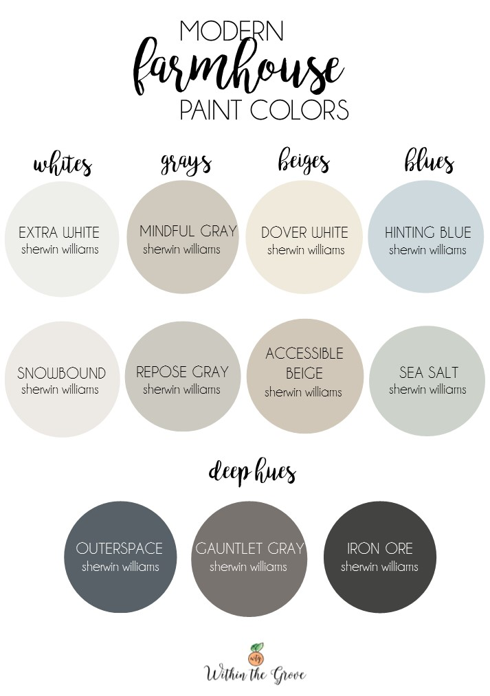 Modern farmhouse paint colors within the grove for Sherwin williams color of the month october 2017