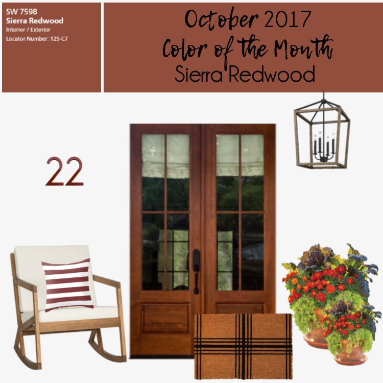 Front porch color of the month sierra redwood within for Sherwin williams color of the month october 2017